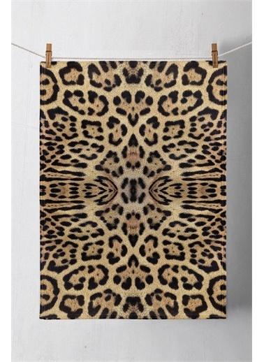 Else Halı Siyah Kahve Leopar Kürk 3D Desenli Baskılı Kurulama Bezi El Havlusu Renkli